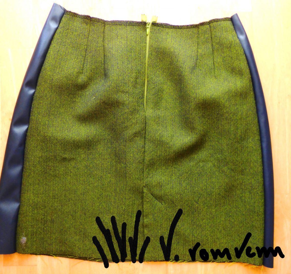 Wollrock Fischgrät grün