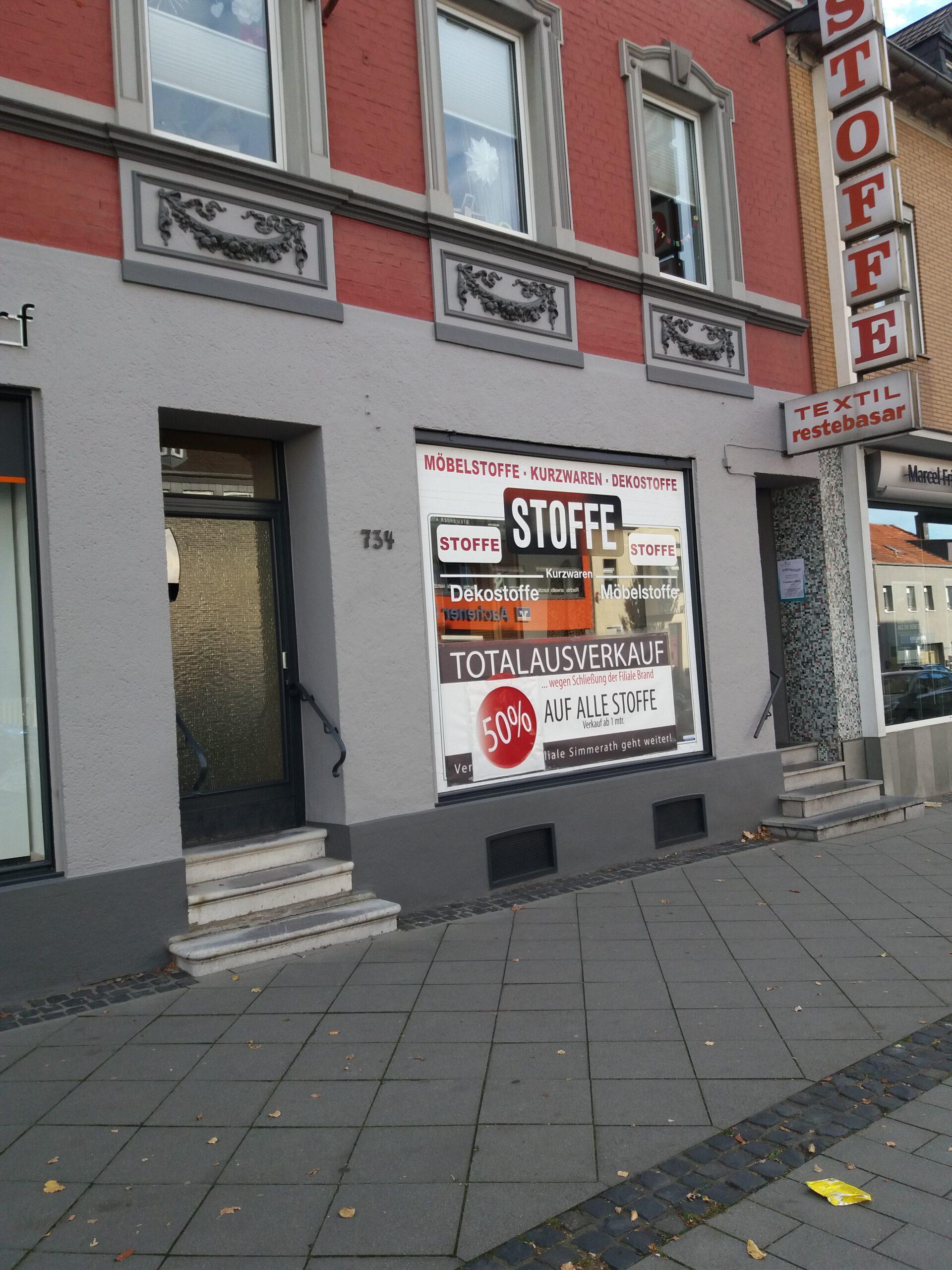 Stoffladen Aachen Brand